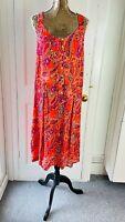 NEXT Floral Orange Paisley Retro 70's Mini Dress BNWT RRP£22 UK 20 TALL EUR 44