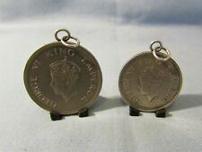 LOVELY PAIR OF INDIA HALF & ONE RUPEE COIN FOBS / PENDANTS DATED 1944 & 1947