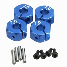 RC Blue Aluminum 7.0 Wheel Hex 12mm Drive + Pins & Screws 4P HSP HPI Tamiya Car