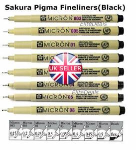 SAKURA PIGMA MICRON FINELINER Black Pigment Archival Ink Waterproof Fine Lines