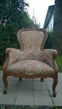 Poltrona trono Luigi Filippo massello tessuto damascato 107cm (h) poltrone sedia