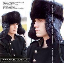 Hunter Men Black Beaver Ushanka Full Fur Hat Chapka Mountain Winter Cold