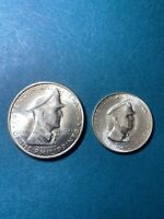 1947 S Douglas MacArthur 50 Centavos & 1 Peso Silver 2 Coin Set Philippines MS+