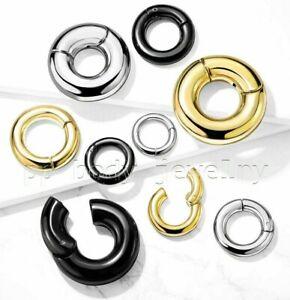 PAIR Large Gauge Hinged Clicker Segment Ring PVD Surgical Steel Earrings Septum