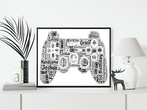 Playstation Controller Game Personalised A4 Word Art Birthday Gift Print