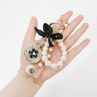 Pearl Luxury Keychain Crystal Perfume Bottle Pendant Car Wallet Handbag Key Ring
