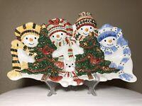 "Vintage Fitz & Floyd Essentials Ceramic 17"" Christmas Platter THE FLURRIES Rare"