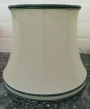 Ivory Silk Oval Lampshade with Green Trim
