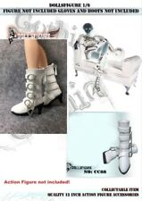 "Dollsfigure 1/6 Scale Female White Buckle Boots For 12"" Phicen HT Verycool Body"
