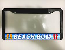 BEACH BUM FLORIDA ISLAND TROPICAL PARADISE OCEAN Black License Plate Frame NEW