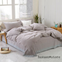 100%Washed Cotton Duvet Cover Set Ultra Soft Simple Style Grey Blue Bedding Set