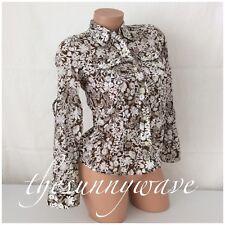 Liz Claiborne Button Down Long Sleeve Brown White Floral Double Pocket Career P