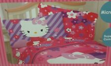 Hello Kitty Raining Flower Pink Purple Twin Sheet Set 3Pc Bedding Microfiber NIP