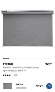 "IKEA FYRTUR Blackout roller blind, wireless/battery operated gray 48x76 ¾ "" NIB"