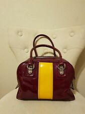 DOLCE   GABBANA AUTHENTIC WINE RED   YELLOW PATENT LILY STRIPED SATCHEL  HANDBAG 8bf60d34df