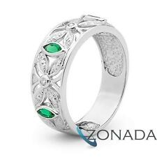 Classic Natural CREATED MQ Diamond Emerald 9k 9ct Solid White Gold Fancy Rings