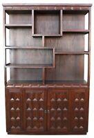 Brutalist Mahogany Bookcase Room Divider Library Etagere Cabinet Sculptural MCM