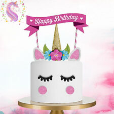 1 Set Unicorn Glitter Cake Topper Happy Birthday Candle Party Supplies Decor DIY
