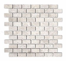Light 1x2 Tumbled Mosaic Travertine Tile Wall and Floor Backsplash Bathroom