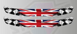 Union Jack Chequered Flag Helmet Visor Sunstrip Screen Sticker Decals - 300mm