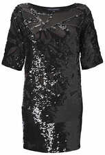 French Connection Black Sequin Fast Embellished Mesh Shift Evening Dress Size 10