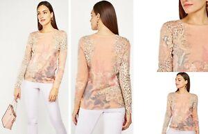 Ladies BAROQUE Print Fine Knit Jumper Coral, Cream & Gold Tones Size UK 8-10 S/M