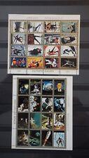 2x Bloc mini Sheet AJMAN Space History + Olympic Games Perforated Cachet MNH**