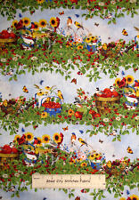 Berry Patch Stripe Wilmington Prints Bird Garden Flower Scene Cotton Fabric YARD