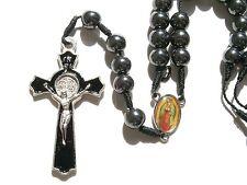 Christian Catholic hematite Beads Rosary Prayer Necklace