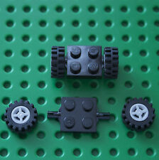 LEGO :2 Black Bearing Plate - 4600, & 4 wheels & tyres 74967 & 87414. City.