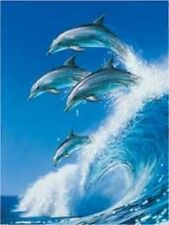 Matted Out of the Blue Dolphins Foil Art Print~Animals~Affordable 8x10 Art