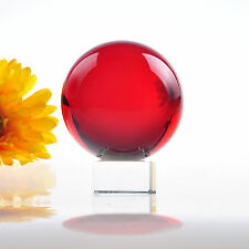 70mm New Crystal Glass Red Ball Square Stand Base FengShui Decoration Hot Gifts