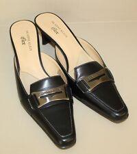 ANNE KLEIN iflex Black Leather Horsebit Slip On Mule Heels Shoe Womens Sz 7.5M