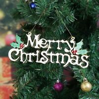Merry Christmas Plaque Sign Tree Holiday Decoration Hanging Ornament 20cm
