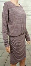 ATHLETA Medium Dress Purple Stripe Striped Long Sleeve Ruched Skirt