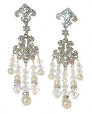 WHITE Pearl CLEAR AB Crystal Chandelier Earring Swarovski Elements Silver Formal