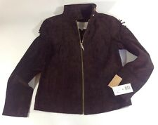 NEW RACHEL ROY Brown Genuine Leather Womens Coat Size Small S Fringe Jacket $350