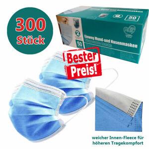300 Gesicht-Atem-Schutz-Masken Mundschutzmaske 3 Lagig Einwegmaske Blaue-Maske