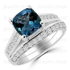 Cushion London Blue Topaz & Diamond Matching Engagement Ring Set 14k White Gold