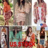 Women Printed Shawl Kimono Cardigan Coat Jacket Chiffon Tops Cover Up Blouse US