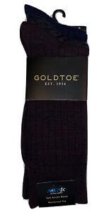 Gold Toe Socks Mens Soft Acrylic Reinforced New Pack 3 Johnny Rib Crew Grey Blue
