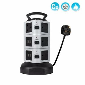 2M Switched Surge Protected Extension Lead UK Plug Tower Multi Socket 4 USB Port