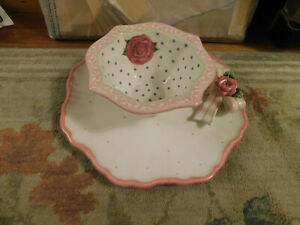 Lot Bella Casa Ganz Ceramic White Pink Rose Bow Flower Plate & Mary Hughes Bowl