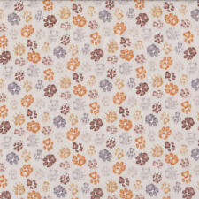 Paw Prints on Light Beige Dog Cat Pet Quilting Fabric FQ or Metre *New*