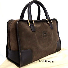 Authentic Loewe Amazona 28 Suede/Leather Deep Brown Hand Bag Purse Vintage Spain
