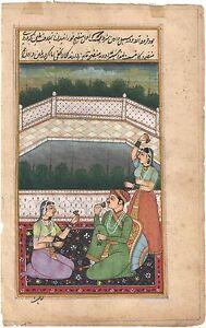 Indian Mughal Miniature Watercolor Paper Artwork Painting Erotic Harem Moghul