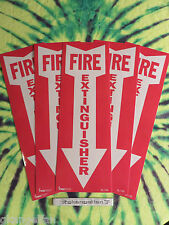 """(LOT OF 5) SELF-ADHESIVE VINYL """"FIRE EXTINGUISHER ARROW"""" SIGN'S...4"""" X 12"""" NEW"""