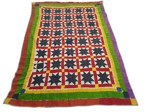 KH717A-Beautiful Vintage Handmade Patchwork Kantha Quilt Throw Reversible Ralli