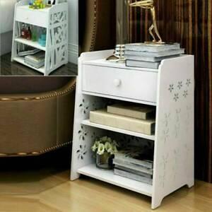 Bedside Table White Wooden Cabinet & Drawer Unit Storage Bedroom Nightstand UK