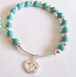 925 sterling silver gemstone bracelet various turquoise heart ohm charm stacking